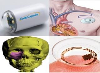 (왼쪽 위부터 시계 방향으로)진단치료 일체형 내시경, 생체삽입형 소형기기, 혈당측정 렌즈, 바이오장기 3D프린팅 - 미래창조과학부 제공